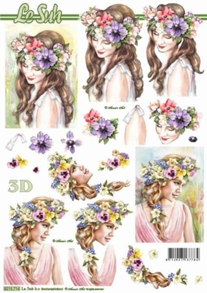 3D ark - Jenter med blomsterkrans