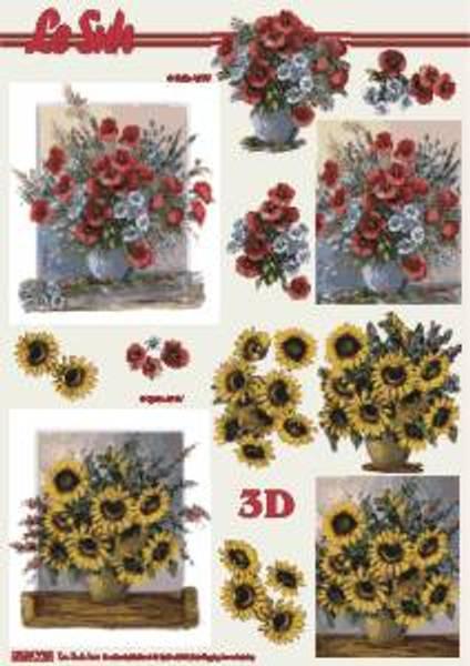 3D ark - Valmuer og solsikker