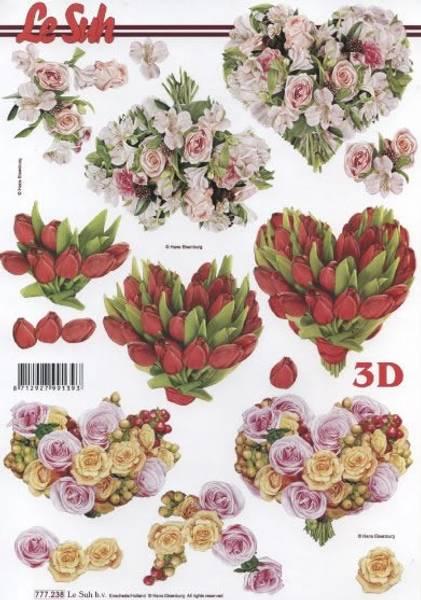 3D ark -Blomsterhjerter